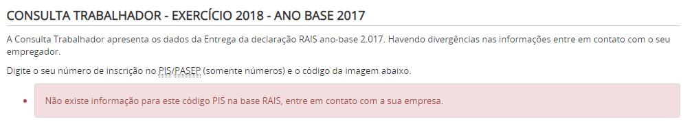 como consultar RAIS pelo internet passo a passo erro